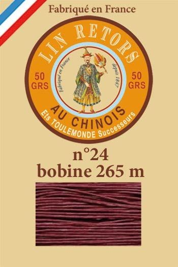 Waxed linen sewing thread size 24 - 265m spool Col. 470 - Dark red