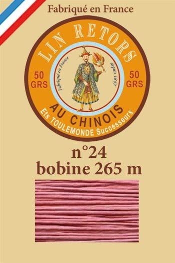 Waxed linen sewing thread size 24 - 265m spool Col.600 - Old pink