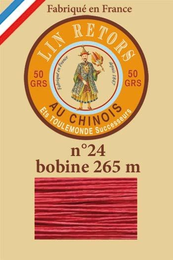 Waxed linen sewing thread size 24 - 265m spool Col. 525 - Red