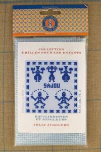 Sajou Jolly Jugglers blue cross stitch kit for children