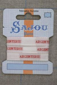 "Sajou woven ecru and red ""Argenterie"" ribbon 1 metre"