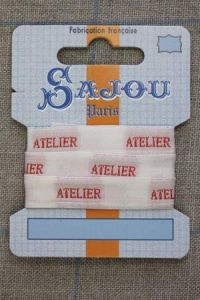 "Sajou woven ecru and red ""Atelier"" ribbon 1 metre"