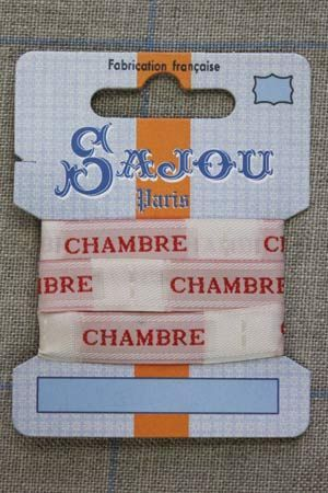 "13mm woven ribbon ""Chambre"" (bedroom) 1m card"