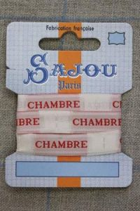 "Sajou woven ecru and red ""Chambre"" ribbon 1 metre"