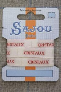 "Sajou woven ecru and red ""Cristaux"" ribbon 1 metre"
