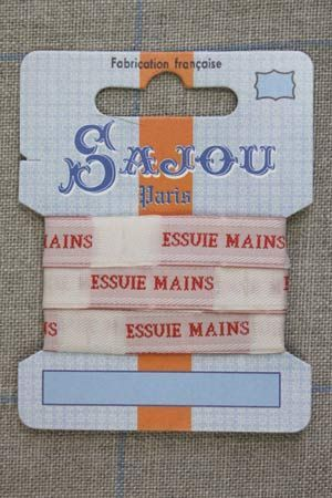 """13mm woven ribbon """"Essuie-mains"""" (hand towel) 1m card"""