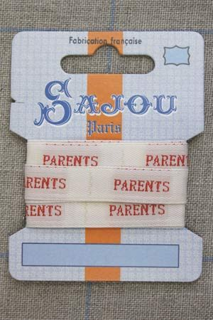 "13mm woven ribbon ""Parents"" (parents) 1m card"