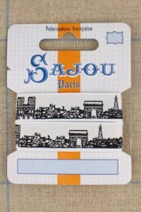 Sajou Paris ribbon 1 metre card black motif on white base