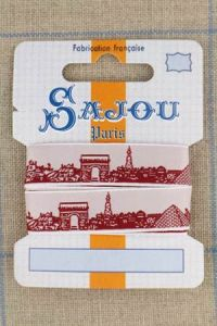 Sajou Paris ribbon 1 metre card red motif on white base