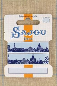 Sajou Paris ribbon 1 metre card navy motif on sky blue base