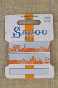 Sajou Paris ribbon 1 metre card orange motif on sky blue base