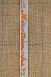 "Sajou-Band ""Paris"" Orange/Hellblau Meterware"