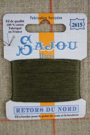 Sajou embroidery thread Retors du Nord colour 2615 Army Green