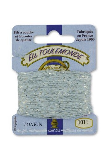 Tonkin embroidery thread polyester / gold lurex strand 1011 Sky blue