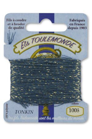 Tonkin embroidery thread polyester / gold lurex strand 1008 - Slate Grey