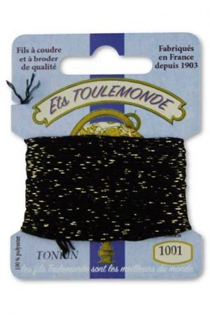 Tonkin embroidery thread polyester / gold lurex strand 1001 - Black
