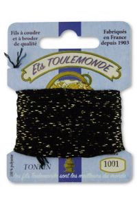 Tonkin embroidery thread polyester / gold lurex strand 1001 Black