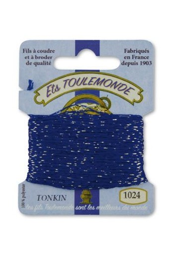 Tonkin embroidery thread polyester / gold lurex strand 1024 Navy blue