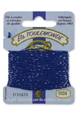 Tonkin embroidery thread polyester / gold lurex strand 1024 - Navy Blue
