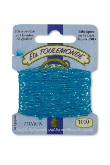 Tonkin embroidery thread polyester / gold lurex strand 1010 Turquoise