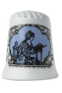Fine white porcelain collectors thimble Embroiderer - blue