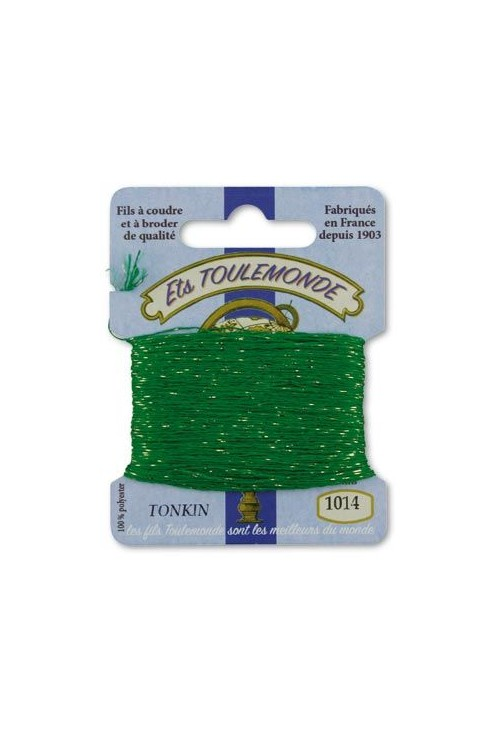 Tonkin embroidery thread polyester / gold lurex strand 1014 Lawn green