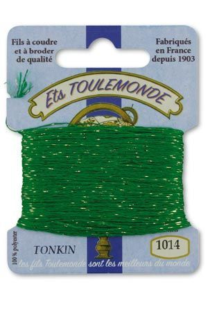 Tonkin embroidery thread polyester / gold lurex strand 1014 - Lawn