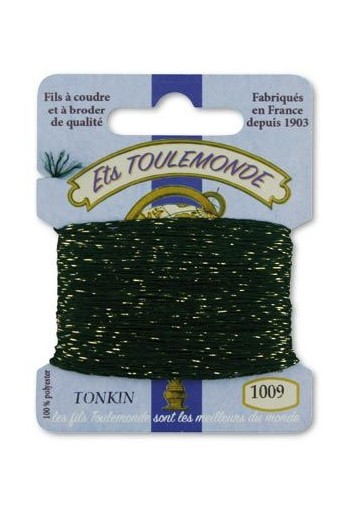 Tonkin embroidery thread polyester / gold lurex strand 1009 Dark green
