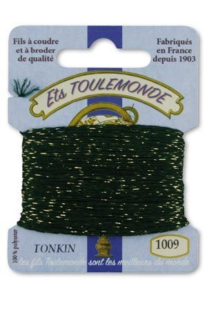 Tonkin embroidery thread polyester / gold lurex strand 1009 - Pine