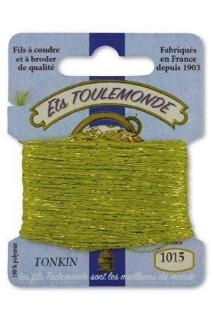 Stickgarn Tonkin Polyester mit Goldlurex – 10 Meter 1015 - Maigrün