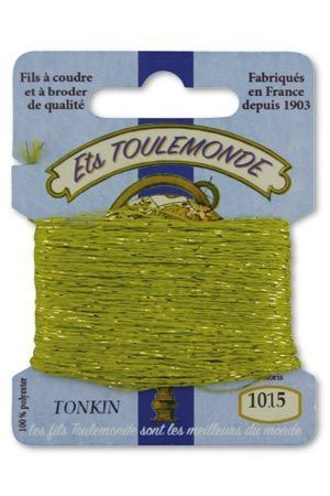 Tonkin embroidery thread polyester / gold lurex strand 1015 - Lime Green