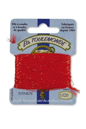 Tonkin embroidery thread polyester / gold lurex strand 1020 Red