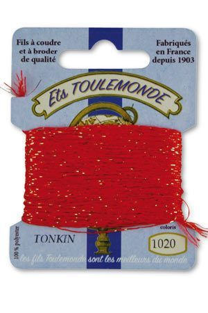 Tonkin embroidery thread polyester / gold lurex strand 1020 - Red