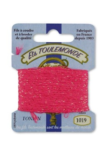 Tonkin embroidery thread polyester / gold lurex strand 1019 Bright pink