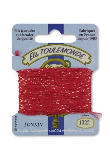 Tonkin embroidery thread polyester / gold lurex strand 1022 Old rose