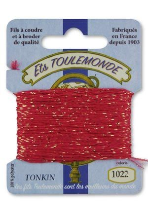 Tonkin embroidery thread polyester / gold lurex strand 1022 - Old Rose