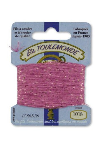Tonkin embroidery thread polyester / gold lurex strand 1018 Mauve