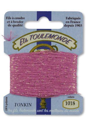 Tonkin embroidery thread polyester / gold lurex strand 1018 - Mauve