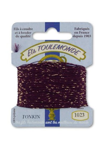 Tonkin embroidery thread polyester / gold lurex strand 1023 deep purple
