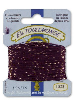 Tonkin embroidery thread polyester / gold lurex strand 1023 - Purple