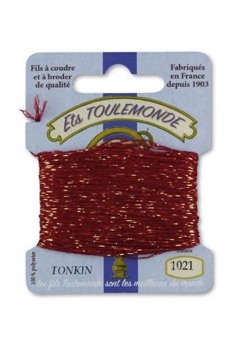 Tonkin embroidery thread polyester / gold lurex strand 1021 Garnet