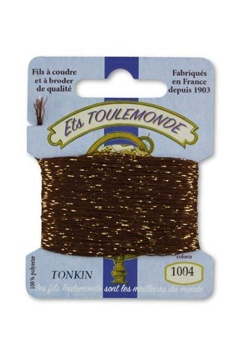 Tonkin embroidery thread polyester / gold lurex strand 1004 Brown