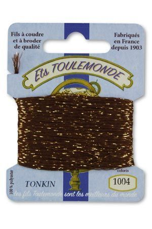 Tonkin embroidery thread polyester / gold lurex strand 1004 - Brown