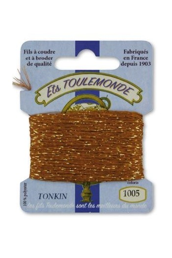 Tonkin embroidery thread polyester / gold lurex strand 1005 Chestnut