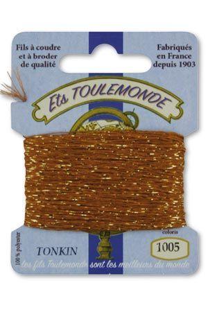 Tonkin embroidery thread polyester / gold lurex strand 1005 - Chesnut