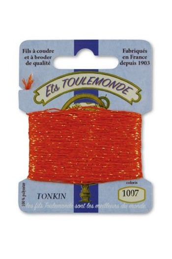 Stickgarn Tonkin Polyester mit Goldlurex – 10 Meter 1007 Orange