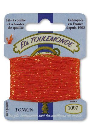 Tonkin embroidery thread polyester / gold lurex strand 1007 - Orange