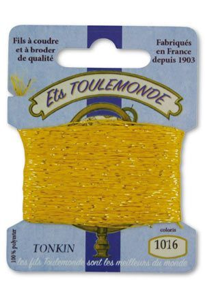 Tonkin embroidery thread polyester / gold lurex strand 1016 - Yellow