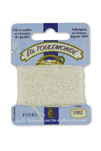 Tonkin embroidery thread polyester / gold lurex strand 1002 ecru
