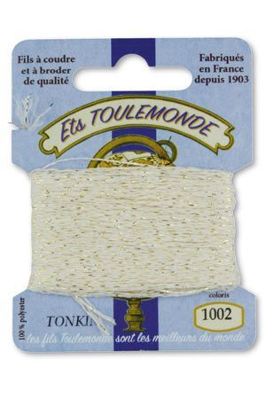 Tonkin embroidery thread polyester / gold lurex strand 1002 - Ecru